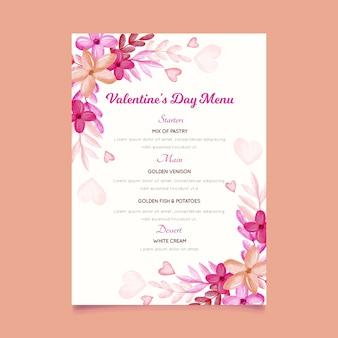 Акварельный шаблон меню дня святого валентина с цветами и сердцами