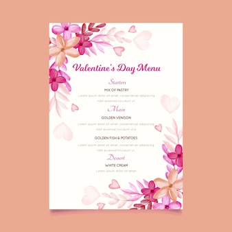 Watercolor valentine's day menu template with flowers and hearts