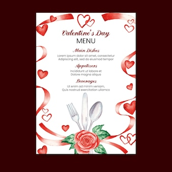 Watercolor valentine's day menu template with heards