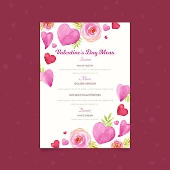 Акварельный шаблон меню дня святого валентина с сердцами