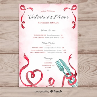 Watercolor valentine's day menu template