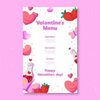Watercolor valentine's day menu template