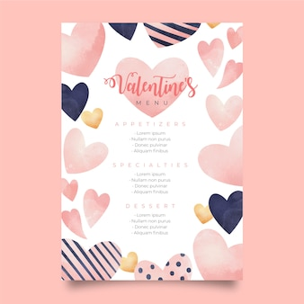 Watercolor valentine's day menu