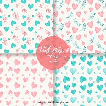 Watercolor valentine's day pattern collection Premium Vector