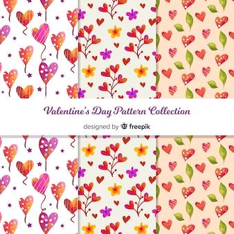 수채화 발렌타인 패턴 컬렉션