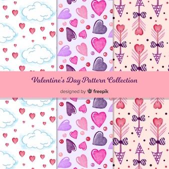 水彩バレンタインデーパターンコレクション