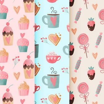 Watercolor valentine's day pattern collection