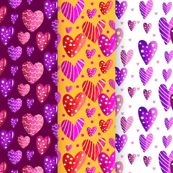 Watercolor valentine's day pattern pack