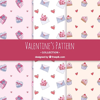 Watercolor valentine's day pattern