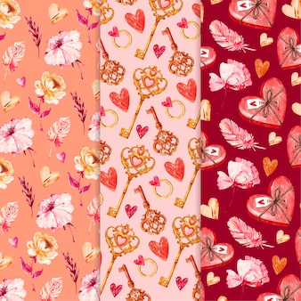 Watercolor valentine's day patterns set