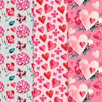 Watercolor valentine's day patterns
