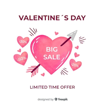 Watercolor valentine's day sale background