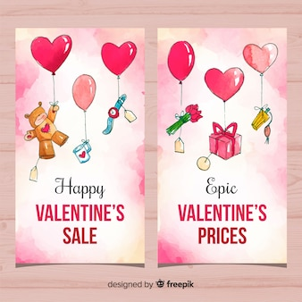Watercolor valentine's day sale banner