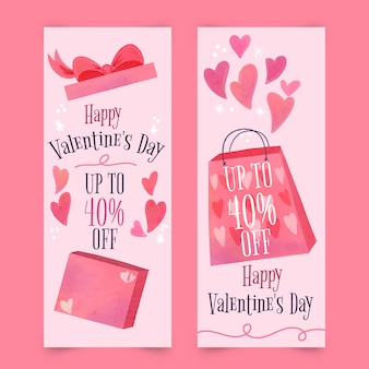 Watercolor valentine's day sale banners