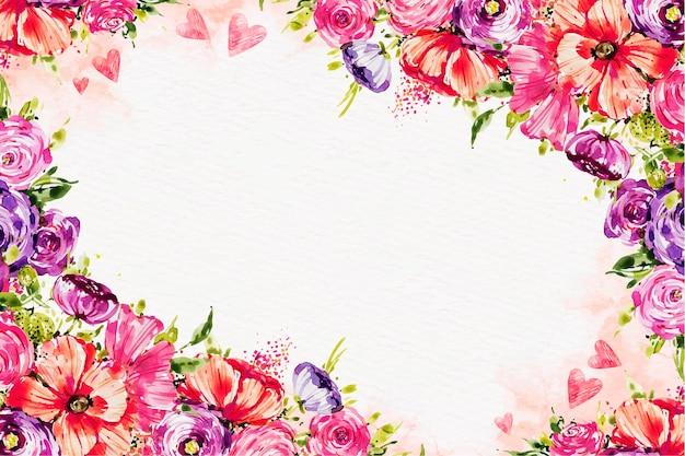 空のスペースで水彩バレンタインデーの壁紙