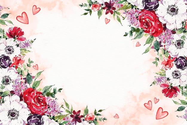 Carta da parati dell'acquerello di san valentino con fiori e spazio vuoto