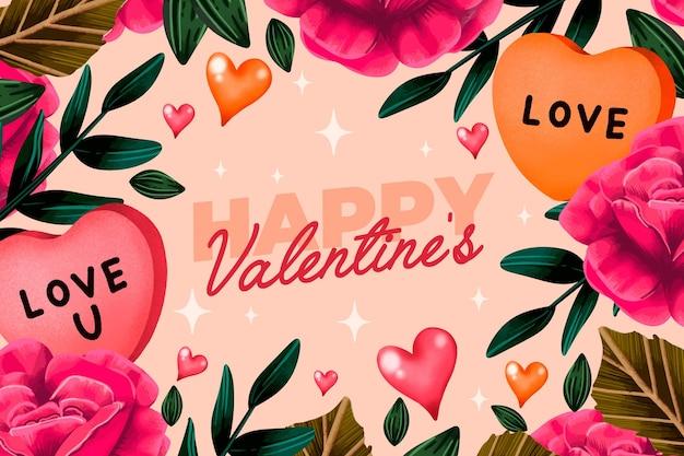 Carta da parati dell'acquerello di san valentino con fiori e auguri