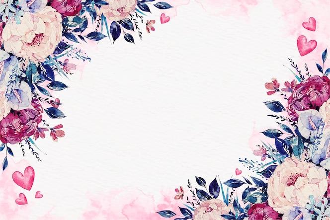 花と水彩バレンタインデーの壁紙