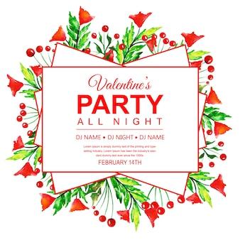 Watercolor valentine's party invitation card