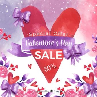 Watercolor valentine sale background
