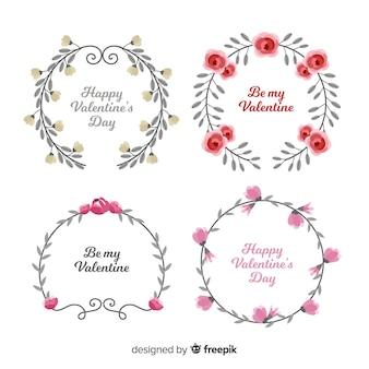 Watercolor valentine wreath set