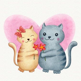 Watercolor valentines day animal couple