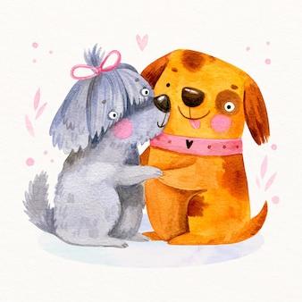 수채화 발렌타인 데이 동물 커플