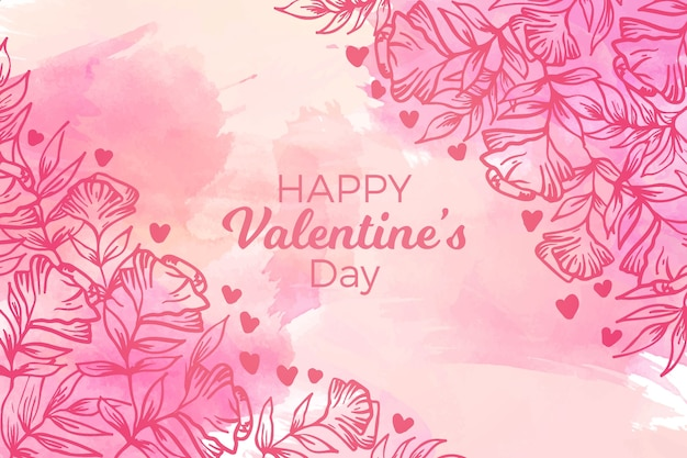 Watercolor valentines day background concept
