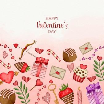수채화 발렌타인 배경