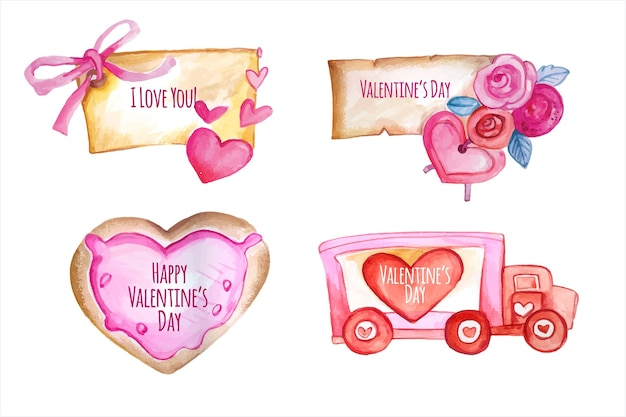 水彩バレンタインデーバッジコレクション