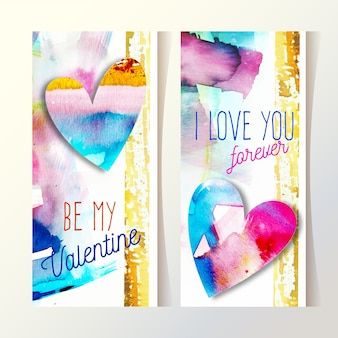 Watercolor valentines day banners template