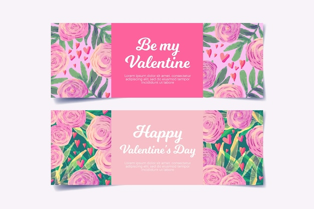 Watercolor valentines day banners