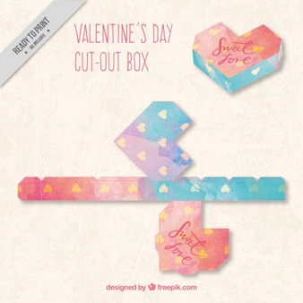Watercolor valentines day box in geometric style