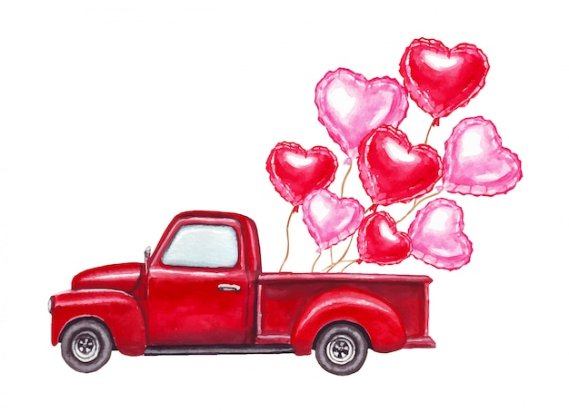 Watercolor valentines day hand drawn illustration of red retro car with red and pink heart shaped balloons.