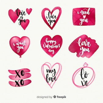 Watercolor valentines day label collection