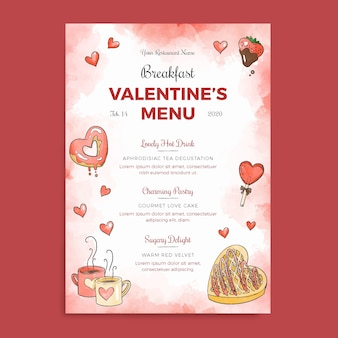 Watercolor valentines day menu template