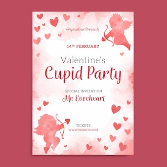 Watercolor valentines day party poster template