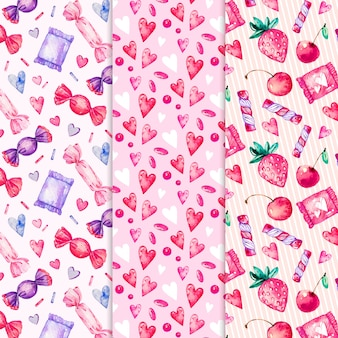 Watercolor valentines day pattern collection
