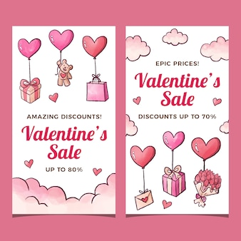 Watercolor valentines day sale banners template