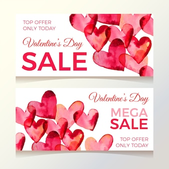 Watercolor valentines day sale banners