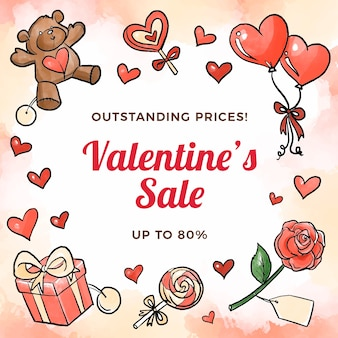Watercolor valentines day sale concept