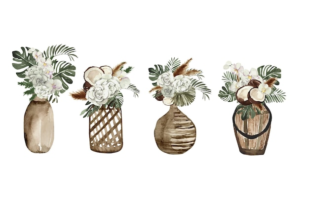 熱帯の花と水彩花瓶
