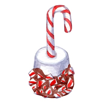 Watercolor vector of christmas dessert isolated on white hand drawn sketch of cake