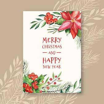 Watercolor vector christmas greeting card