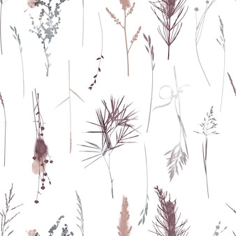Watercolor vector floral seamless pattern