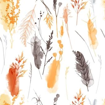水彩ベクトル花のシームレスなパターン