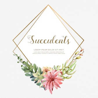 Watercolor vector frame of cacti and succulent plants.