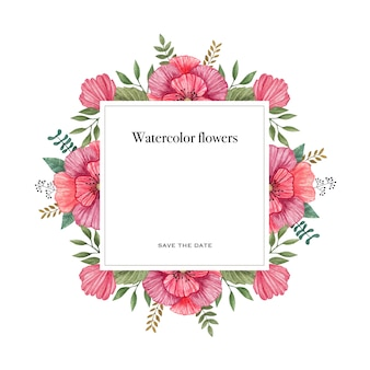 Watercolor vector frame of colorful wild flowers.