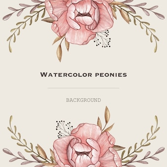 Watercolor vector frame with pastel peonies in vintage style. design background.