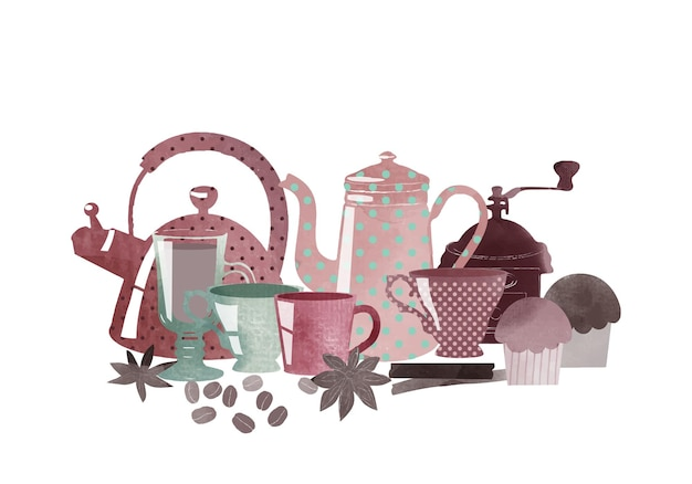 Watercolor vector illustration of coffee und elements